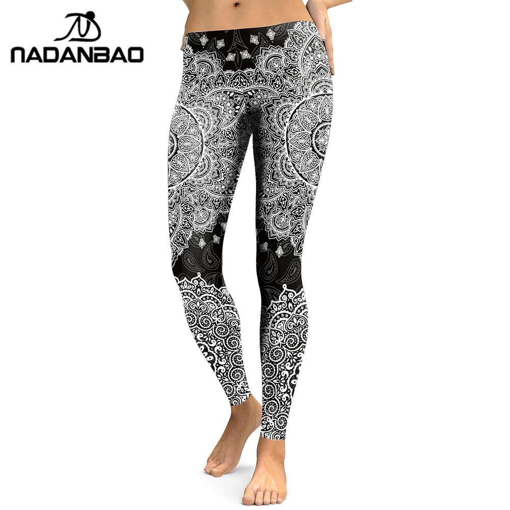 NADANBAO 2019 Women  Leggings Madanla Series Black Flower 3D Digital Print Leggins Fitness Workout Pants Plus Size Legging