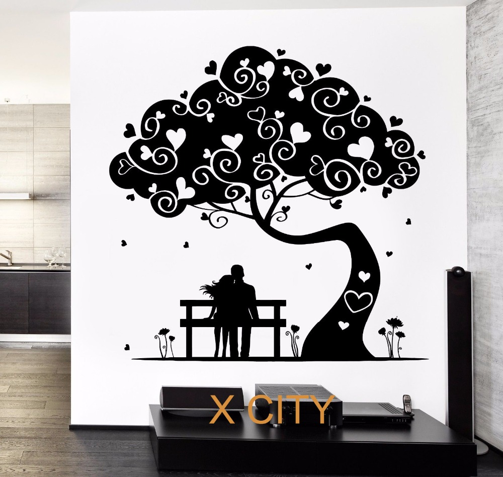 buy love tree hearted romantic lovers wall decal sticker removable vinyl. Black Bedroom Furniture Sets. Home Design Ideas