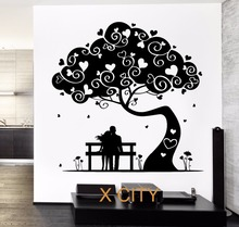 Love Tree Hearted Romantic Lovers Wall Decal Sticker Removable Vinyl  Transfer Stencil Mural Home Room Decor S M L