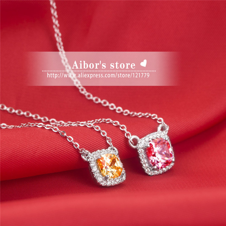925 sterling silver set 2 carat cushion cut sona Simulated Gem Necklace& Pendant for Women Clear / yellow / pink center stone