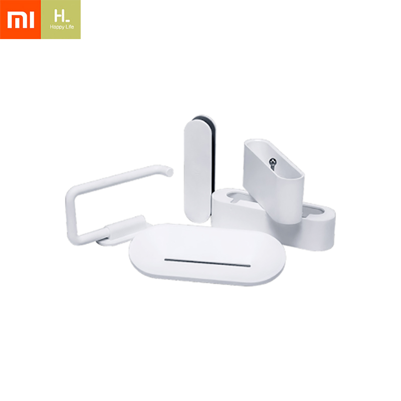 Happy Life Bathroom Accessories Sets Punch-free toothbrush holder paper holder rack soap box bathroom accessories xiaomi youpin image