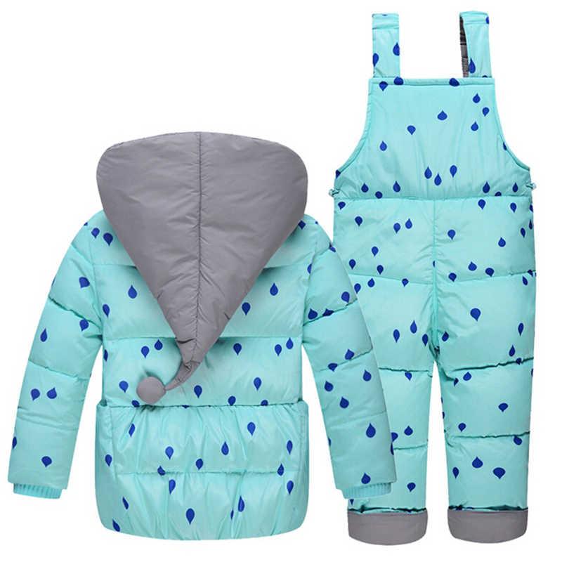 Trẻ em Mùa Đông Xuống Bộ Trẻ Em Trượt Tuyết Phù Hợp Với Áo Bé Cô Gái Chàng Trai Ấm Snowsuits Áo + Quần yếm có dây đeo 2 cái/bộ chập chững biết đi cô gái quần áo