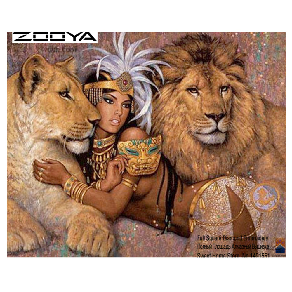 ZOOYA Diy Diamantmaleri Diamantbroderi 5D Square Full Diamond Hjemmeinnredning Europe Mosaic Kit Girl and the Lion T6102-3