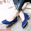 High Quality Women Square Low Med High Heel Shoes Pumps Woman Office Career Shoes Med High Heels Plus Size 34-40.41.42.43