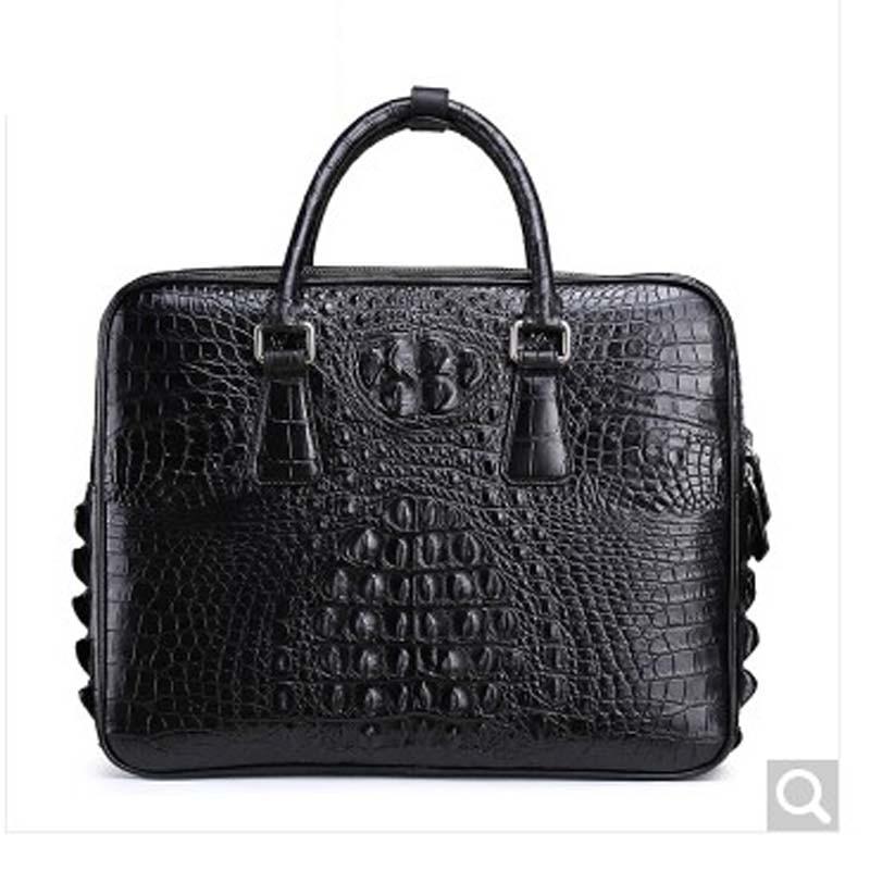 RVH new Crocodile leather man briefcase tote large capacity crocodile leather man handbag business casual black Black crocodile crocodile cr225r black gold page 8