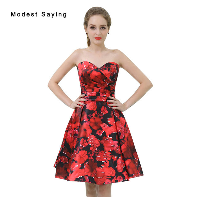 red and black elegant floral print short cocktail dresses 2017 christmas formal mini homecoming prom gowns