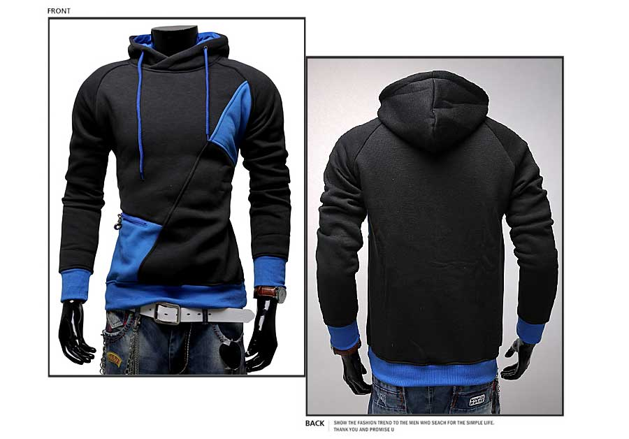 spring and autumn new hoodie men's matching color patchwork jumper Korean version of men's coat 48