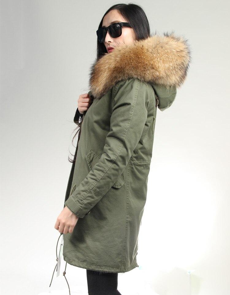 oftbuy dropshipping 2016 армия зеленый текст зима пальто женщин длинные натуральный мех пальто большой енот меховой воротник капюшоном толстый теплый парки