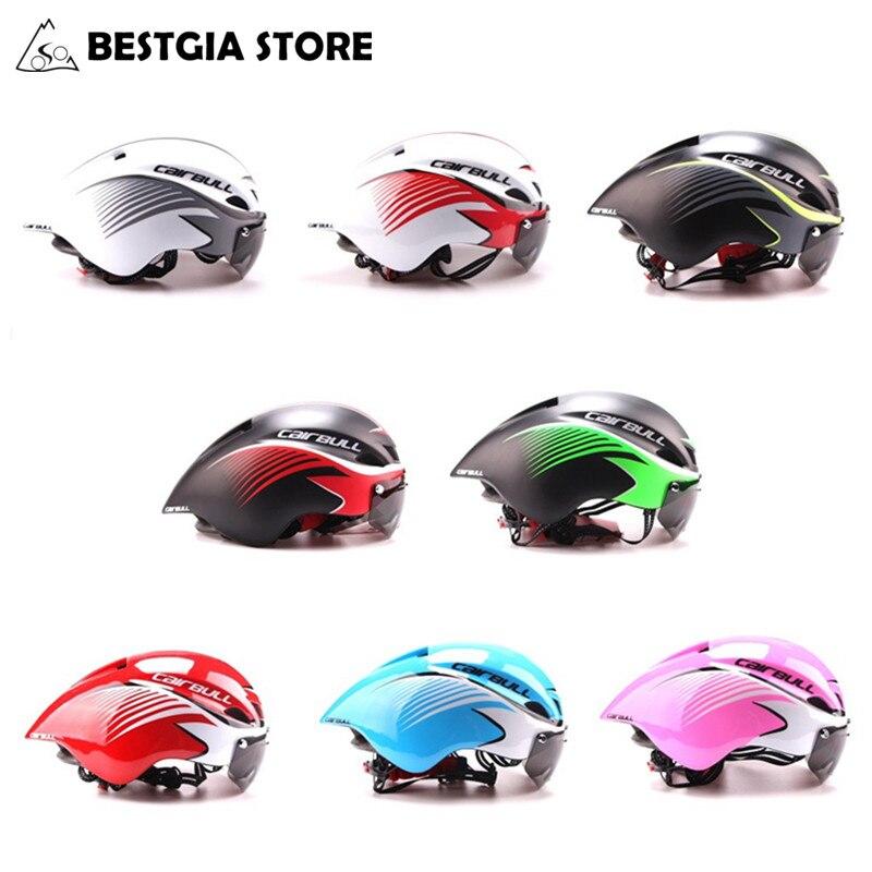 290g Triathlon Bicicleta de Estrada Capacete Bicicleta Integralmente-Moldado Casco Aerodinâmico Esporte Ciclismo Capacete Com Óculos De Proteção Ciclismo 8 cores