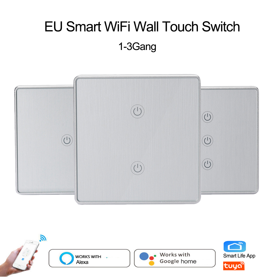 EU Panel 1//2//3 Gang WiFi Touch Light Switch TUYA//Smart life APP for Alexa Google