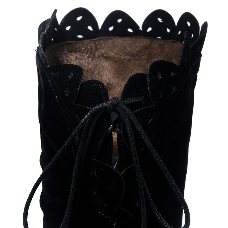 Haute Noir Hauts Femmes Dentelle forme À Effet Femme Lacets Talons Hiver Cuisse Velours Bottes Enmayla Chaussures Plate Hautes Coins qFRxfBWwF1