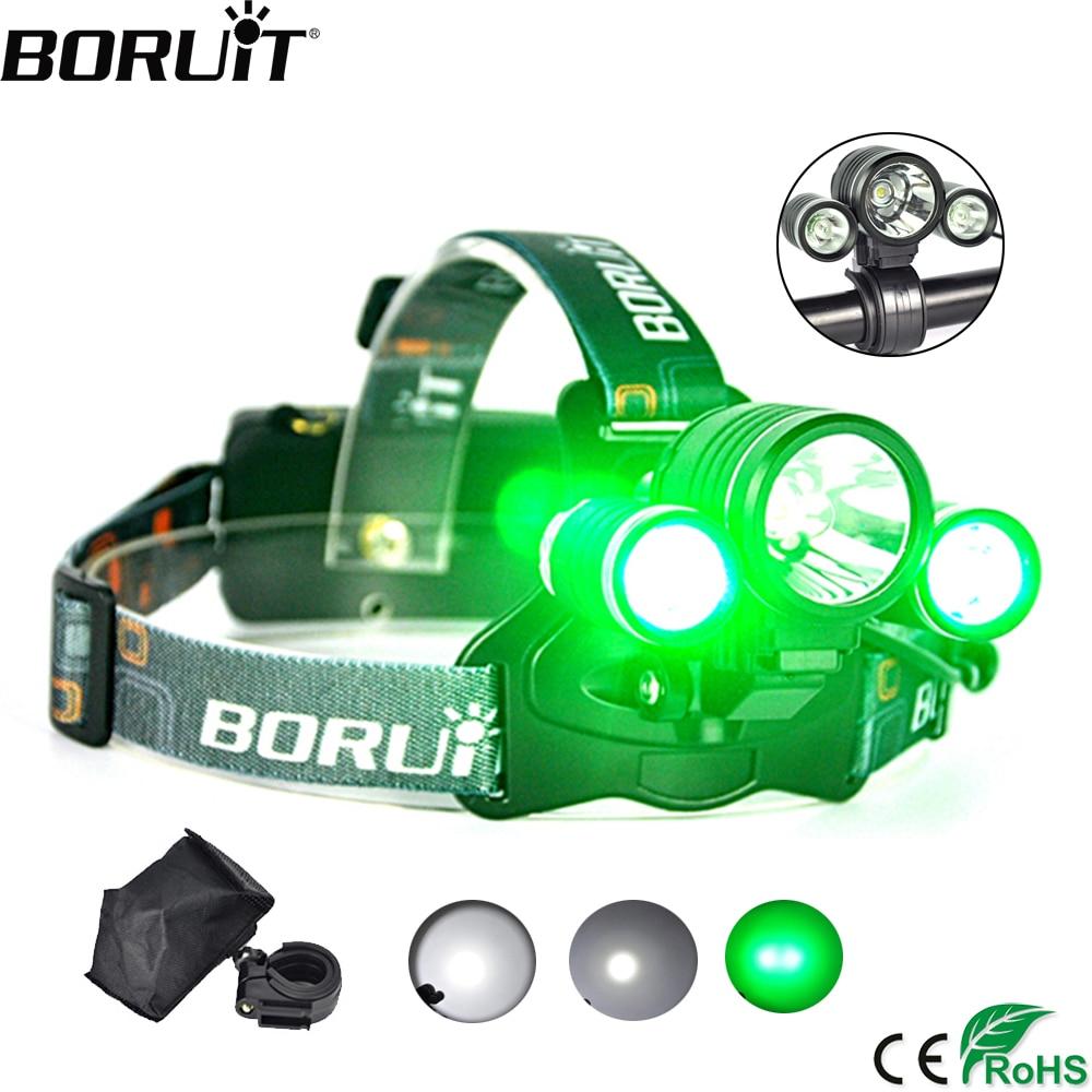 все цены на BORUiT 3-Mode IPX6 Headlight RJ-1155 XML T6 White LED Headlamp R5 Green LED Light Head Torch Camping Hunting Frontal Lantern онлайн