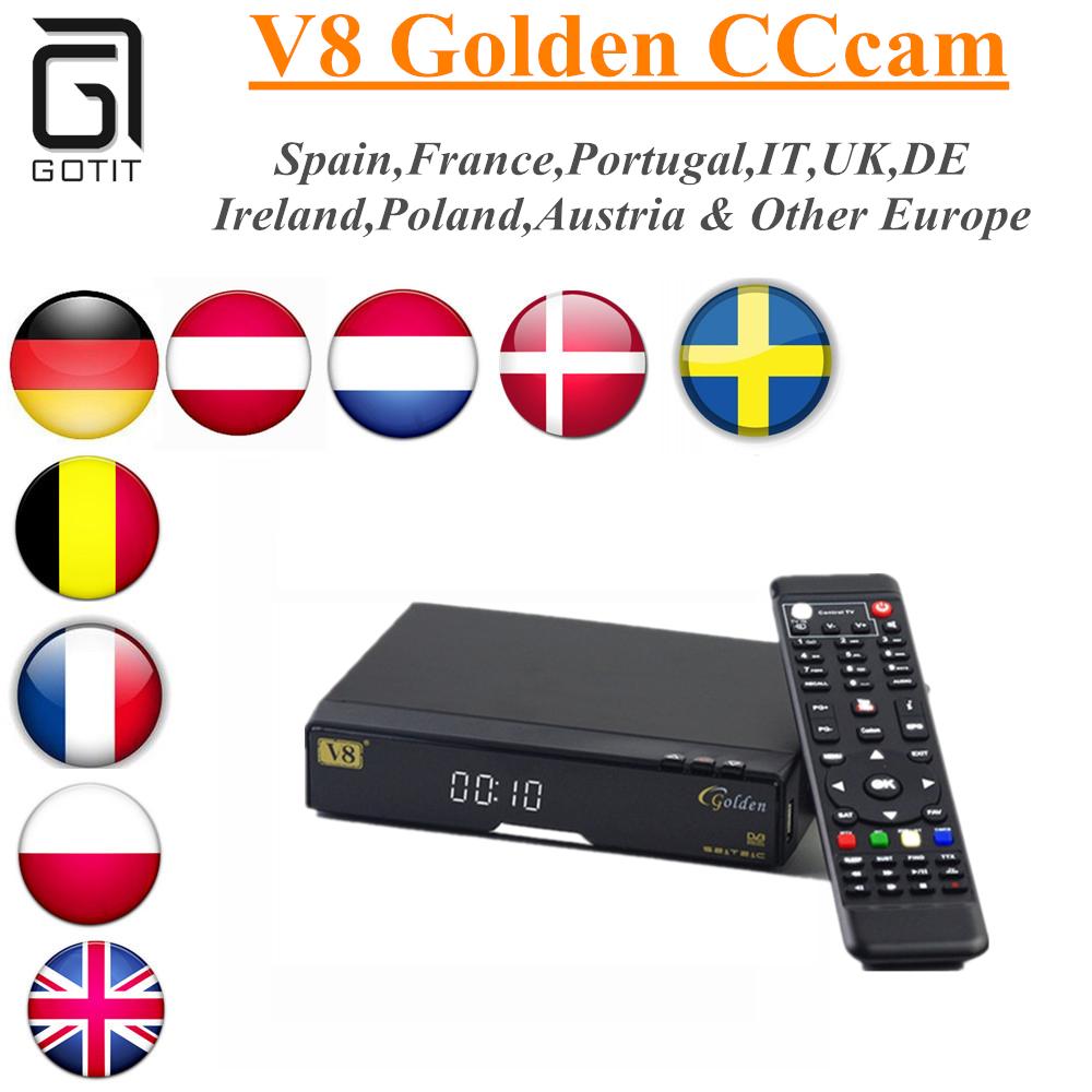Prix pour Openbox V8 Or Soutien 1 Année CCcam USB WiFi DVB-S2 + T2 + Câble CCCAM Europe Cline Serveur IPTV Youporn Satellite Récepteur TV Box