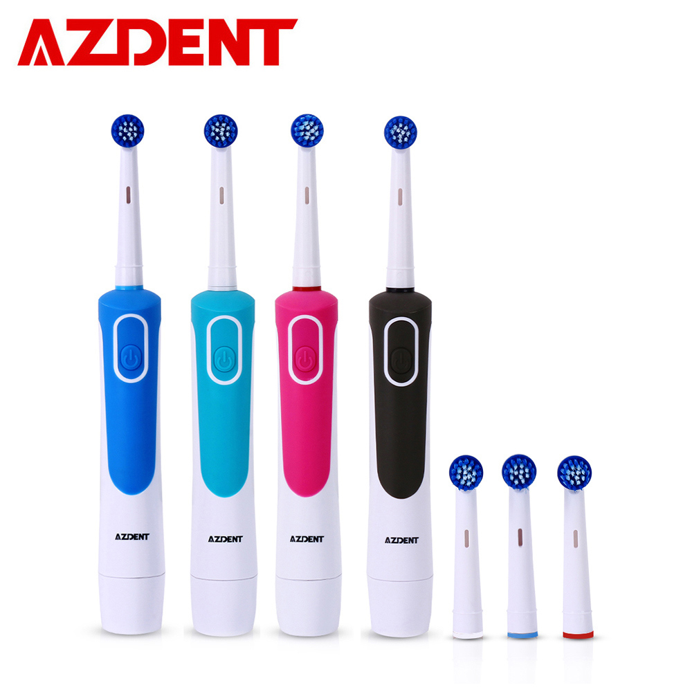 AZ-2 Pro Rotating Electric Toothbrush With 4 Replacement Heads Battery Type No Rechargeable Tooth Brush Teeth Whitening Adults
