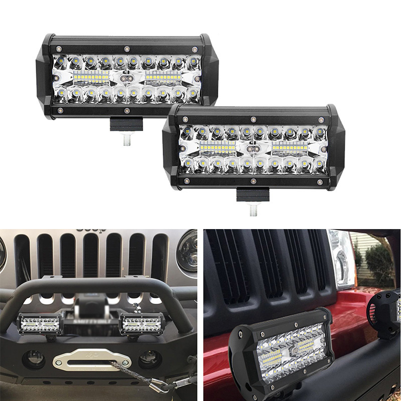 2pcs 7inch 120w Super Bright LED Light Bar Spot Flood Combo LED Lights Driving Lights Waterproof Led Work Fog Lights For Truck