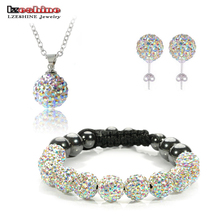 Fashion Crystal Shamballa Set Necklaces & Pendants/Bracelet/Earring Studs Jewelry Set With Disco Balls for Women SHSTImix1