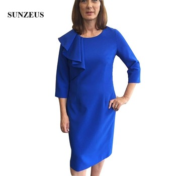 Royal Blue Mother Of The Bride Knee Length Dress With Three Quarter Sleeve Straight Groom Mother Formal Dress Wedding Guest Gown