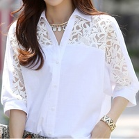 New Women Casual Basic Summer Lace Chiffon Blouse Hollow Out Embroidery Patchwork Fashion Top Shirt White