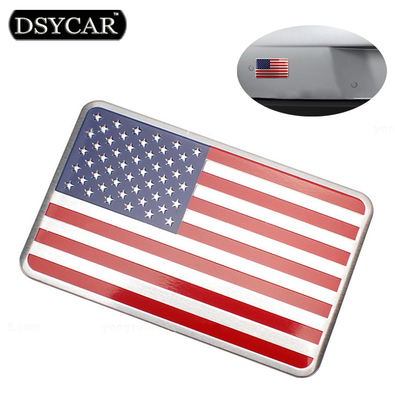 DSYCAR Metal American US Flag Car sticker logo Emblem Badge Car Styling sticker For Jeep Bmw Fiat VW Ford Audi Honda Lada