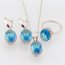 2015 Hotting Blue Topaz Rhinestone 925 Silver Jewelry Sets For Women Necklace Pendant Earrings Rings Free Box