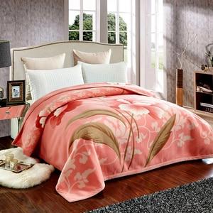 Image 5 - Korean Style Cashmere Raschel Blanket One Layer Floral Printed Soft Warm Plaid Queen Size Winter Warm Bed Sheet Mink Blankets