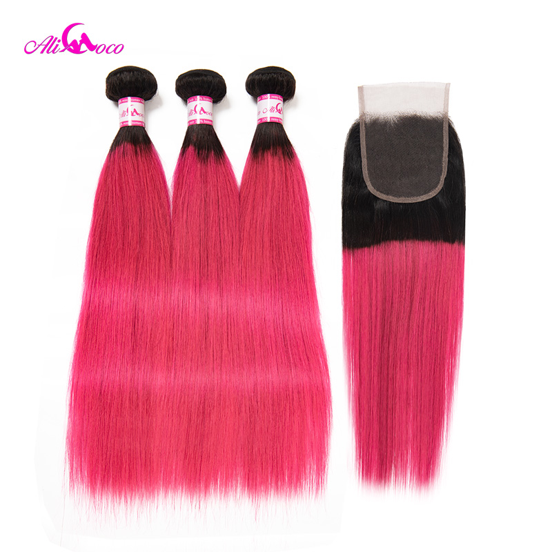 Ali Coco Brazilian Straight Hair 3 Bundles With Closure Pink Color 10-30 Inch 100% Human Hair Bundles With Closure Remy Hair