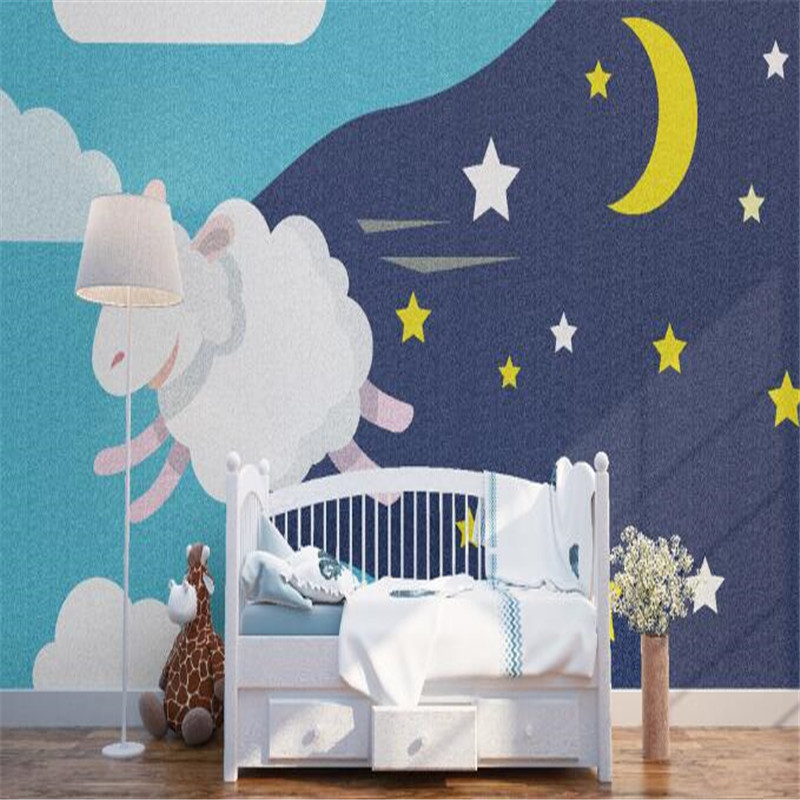 Cartoon Wallpapers Sheep Mural Wallpaper for Kids Room Custom Wall Papers Home Decor Cute Night Photo Wallpapers for Living Room cartoon animation child room wall mural for kids room boy girl bedroom wallpapers 3d mural wallpaper custom any size