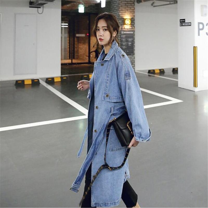 2019 Bahar Moda Kadınlar Denim Ceket Uzun Kollu Boy Uzun Jean Mont - Bayan Giyimi - Fotoğraf 1