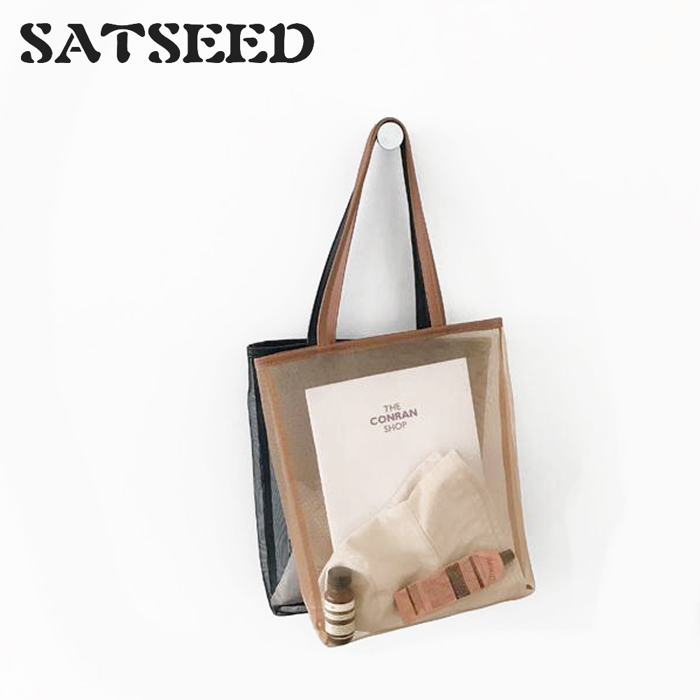 Summer New Korean Version Of The Very Simple Wind Art Small Fresh And Transparent Mesh Shoulder Bag Student Bag Women's Bag