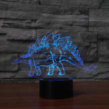 Living Room Decor 7 Color Changing Dinosaur 3D LED Night Lights Stegosaurus Table Lamp Baby Sleep Lights Fixture Kids Gifts Toys quadruple 3d dinosaur night lights colorful changing simulation dinosaur lamp halloween funny tricky atmosphere table lamp