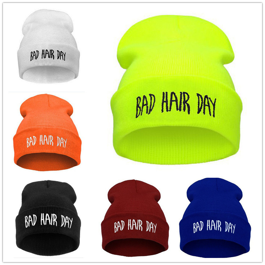 BAD HAIR DAY Fluorescent Knitted Hat Soft Elastic Beanie 2014 New ...