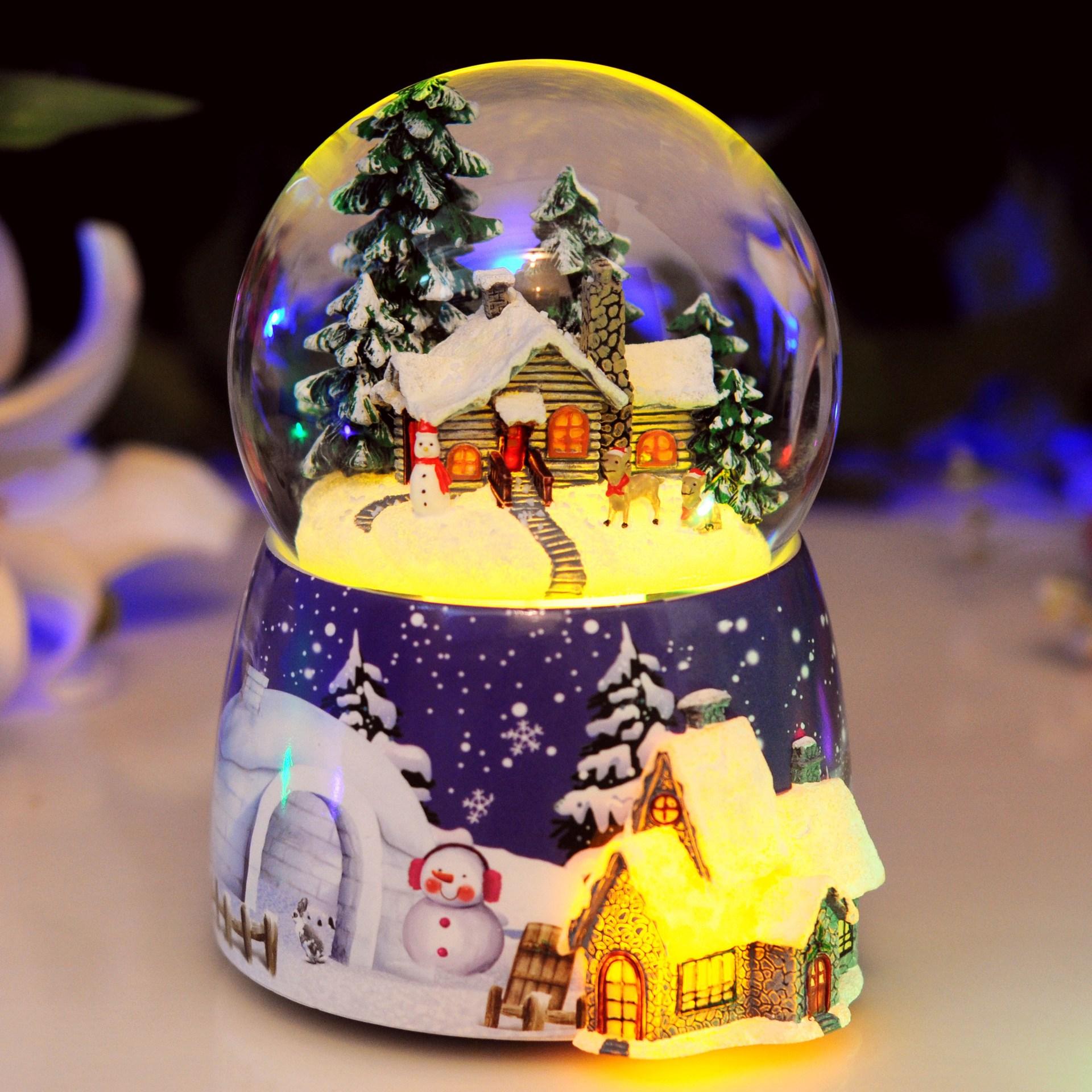 2018 Musical Box Free Shipping Christmas Rotating Light Snow Crystal Ball Music Box Of Male Girl Children For Her Birthday Gift