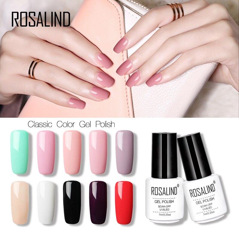 New ROSALIND 7ml Pure Color 36 Colors Gel Nail Polish