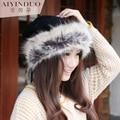 Mulheres inverno manter quente Tampão Feito Malha Inverno Gorro Sólida Qualidade Superior Gorros chapéu Ms. outono e inverno pele de coelho malha chapéu de lã