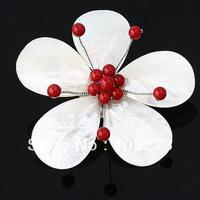 New Arriver Natural 3-25mm White Shell & Red Crystal Beads Flower Pin Brooch + Pendant 70mm Fashion Wedding Jewelry Hot Sale