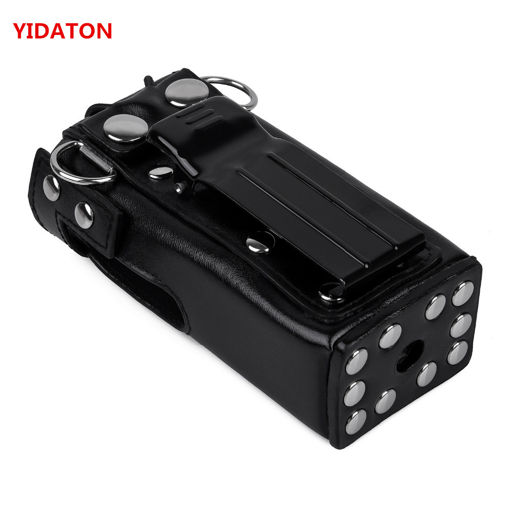 YIDATON New Hard Leather Carring Case Bag Holder With Belt Clip And Strap For Motorola GP328 GP340 GP360 GP380 <font><b>Walkie</b></font> <font><b>Talkie</b></font>