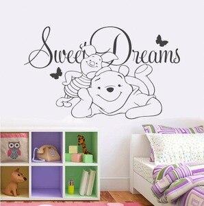 Image 1 - Nursery Decor Bear Vinyl Wall Sticker Baby Sweet Dreams Vinyl Wall Decal Children Bedroom Cartoon Wall Poster ER64