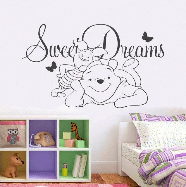 Nursery Decor Bear Vinyl Wall Sticker Baby Sweet Dreams Vinyl Wall Decal Children Bedroom Cartoon Wall Poster ER64