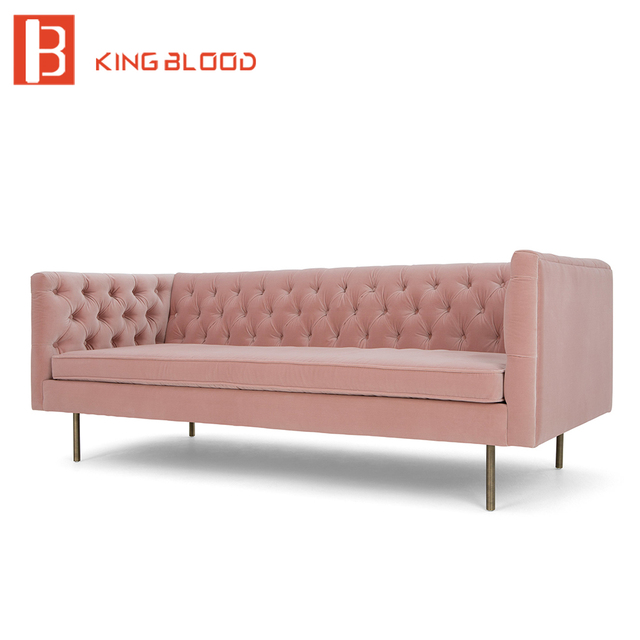 modern pink velvet fabric 3 seat couch living room sofa set design ...