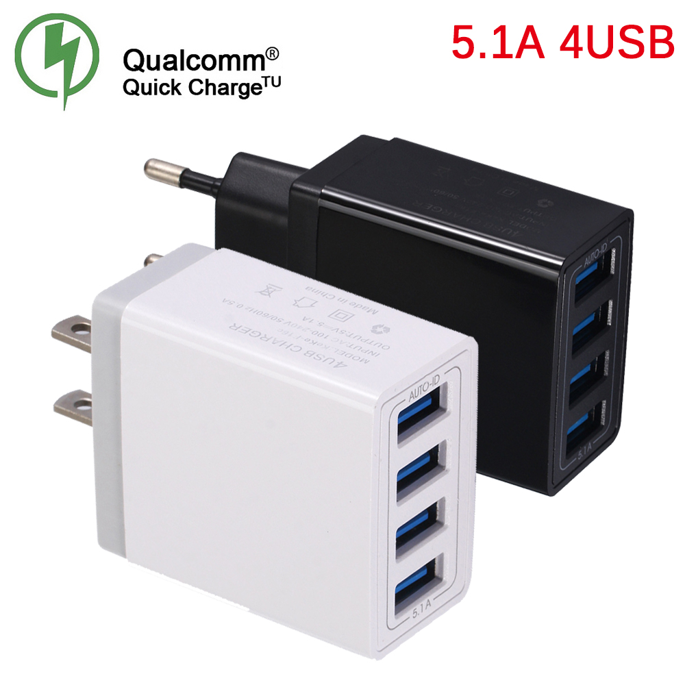 Universal 4USB Travel Mobile Phone Charger Adapter for iPhone Samsung 5V 5.1A Smart Charging Head Smart Phone USB Fast charger