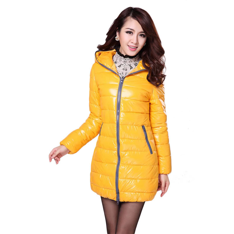 2016 New arrival Women Coat Thicken Down Jacket Shiny hooded long section of female cotton padded
