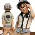 Клиренс мальчики мультфильм галстук футболка комбинезоны летняя одежда устанавливает мальчики подтяжк брюки дети одежда детские комплекты одежды
