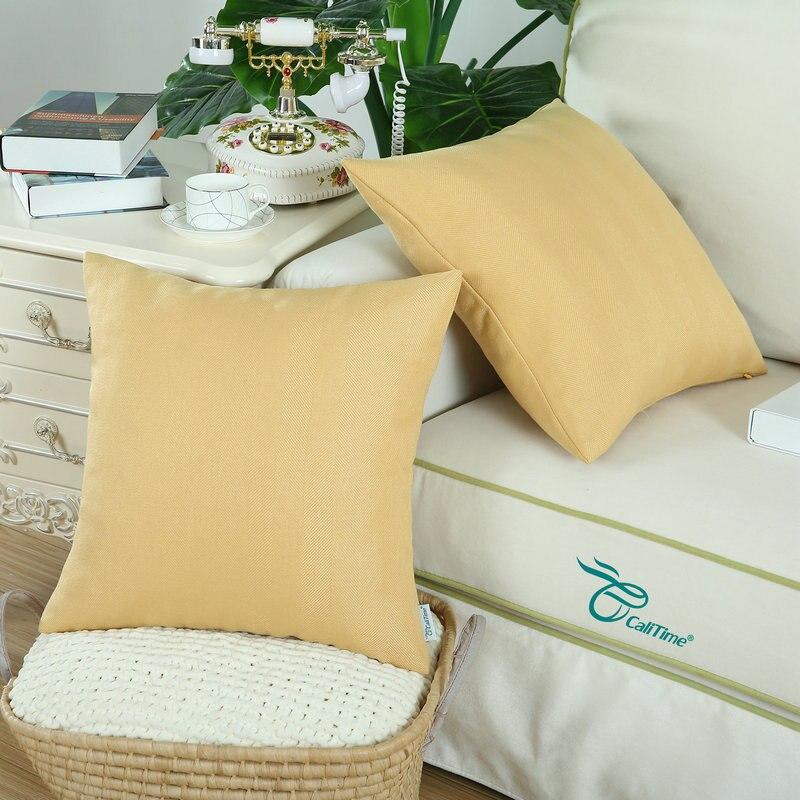 2pcs Calitime Cushion Covers Throw Pillow Cases Shell High Class Faux Linen Chevron Striped 18 X 18 45cm X 45cm Yellow