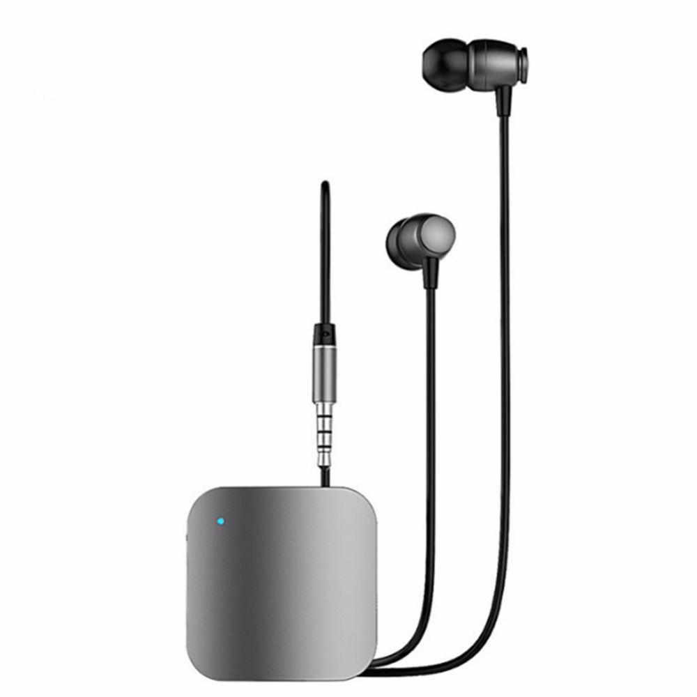 цена на 1 in 2 Wireless Bluetooth Clip Earphone+USB Bluetooth Receiver With Microphone Car Stereo Audio Receiver Sports Wired Earphones