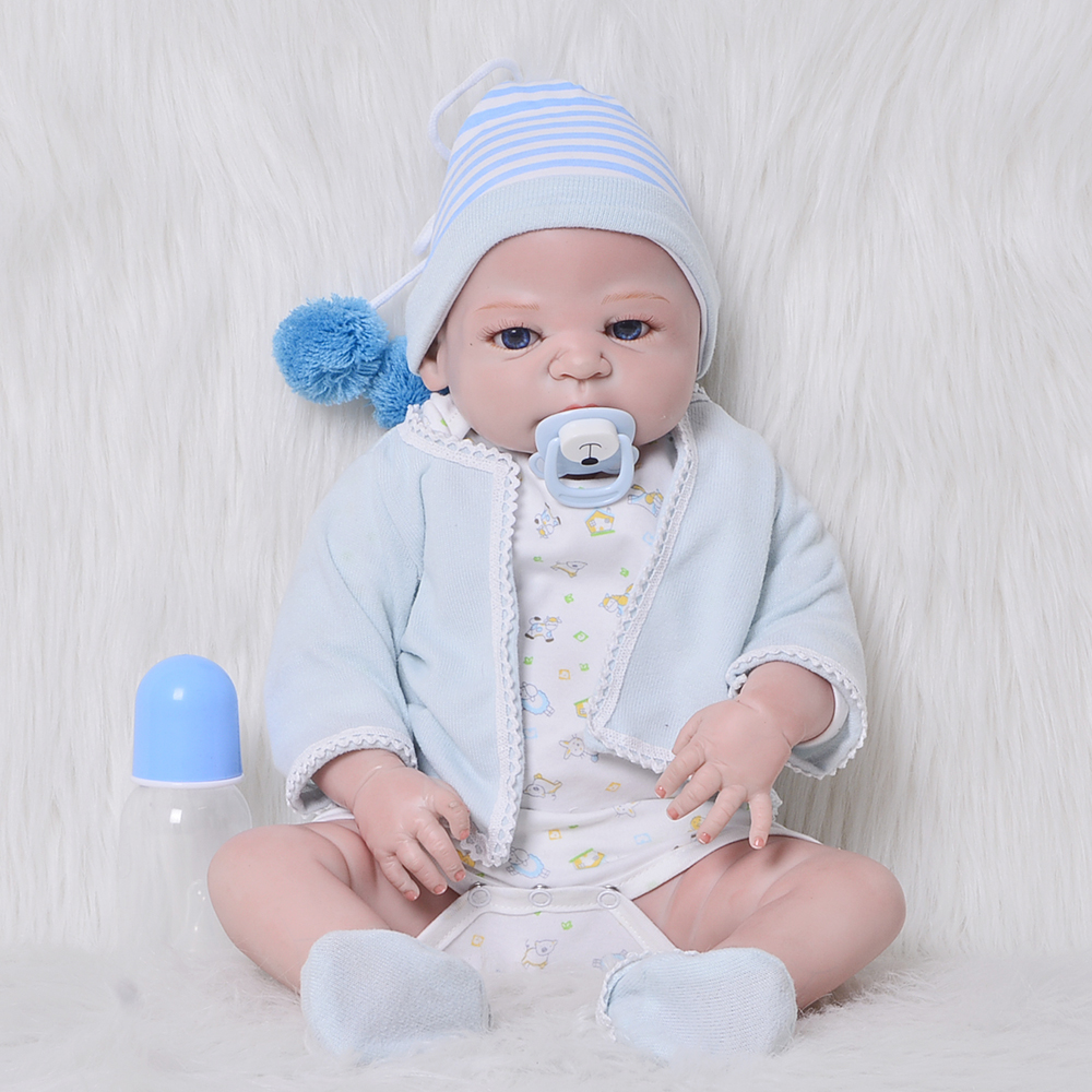 23'' 57 cm Lifelike Reborn Dolls Babies Full Silicone Vinyl Bebe Reborn Baby Toy Fashion Kids Playmates For 2018 Birthday Gifts 23 russian silicone reborn baby girl full body vinyl dolls touch real baby dolls lifelike real hair new 2017 kids playmates