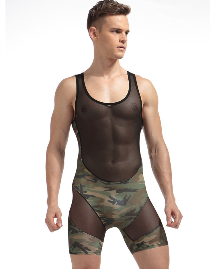 Sexy Men Underwear Transparent See Through Bodysuit Undershirt Men's Ultrathin Jumpsuit Bodywear Man Splice Camouflage Clothing