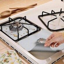 Газовая плита коврик горелка температура анти-обрастающий и масло протектор Лайнер инструменты для уборки на кухне Мат 4 шт многоразовые Стекловолоконная фольга