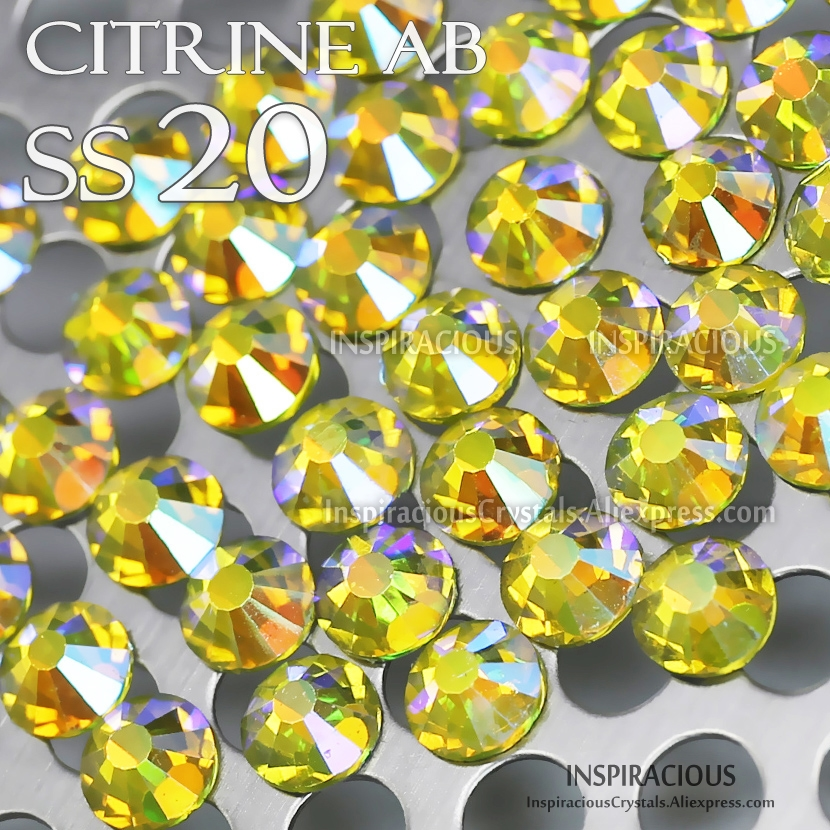 SS20 1440Pcs/Bag Citrine AB Nail Rhinestone Non HotFix FlatBack crystals strass glitters for DIY nails art design decor manicure