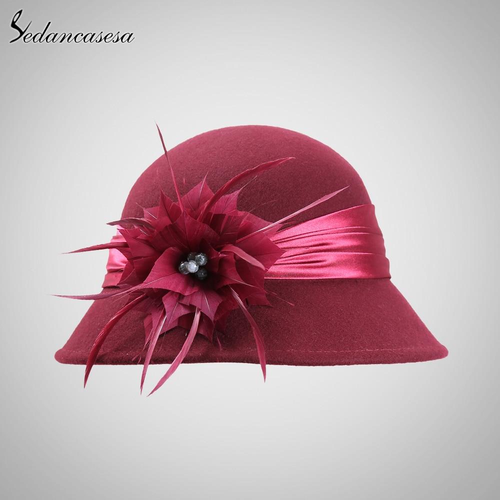 240e3fbc921 Sedancasesa Autumn Winter Female Cloche hat Handmade Feather European Wool  Felt Fedora Hats for women Bucket hat FW003220-in Fedoras from Apparel ...