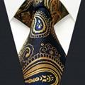 U10 Paisley  Gold Blue Navy Mens Tie Neckties Extra Long Size Matching Hanky100% Silk Casual Dress Men Ties Designers Fashion